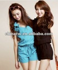 ef2714 Korea Style Wholesale Drawstring Ruffles Sleeveless Women Plain Jumpsuits
