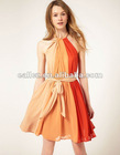 Original Pleated Scoop Chiffon lady Dress With Ribbon
