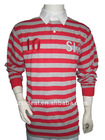 Men's spandex cotton yarn dyed stripe long sleeve custome rugby shirt