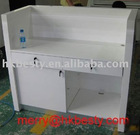 white glossy wood cashier counter table in new style 2012