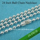 24 Inch 2.4mm Sterling Silver Plated Brass Ball Chain Necklace