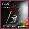 colored glass crystal star trophy awards for cooperation display,custom logo and shape