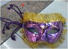 hot sell queen mask in purple color with gold painting for party