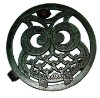 12 inch cast iron antique green Owl-style planter tray