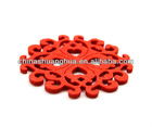 2012 Red Color Round Flower Laser Cut Wool Felt Coaster