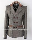 England style plaid blazer, women's leather patch jacket