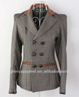 England style plaid blazer, women's leather patch jacket