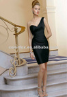 Black Silky Taffeta one shoulder Dress with Beading Knee Length Bridesmaid Dress