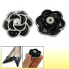 "Lady Black Silver Tone 1.5"" Flower Design Shoes Clips"