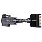 Trailer adaptor,Connects 7 pin flat plug to 7 Pin large round socket