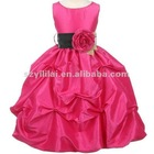 Free Shipping 2012 Taffeta Jewel Floor Length Flower Girl Dress JYFD039