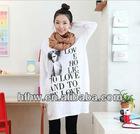 korean love printing long loose skirt