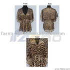 Leopard print chiffon fabric ladies blouse