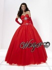 Fascinating Sweetheart Crystal Beaded Red Puffy Prom Dress HL-PD599