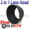 55mm 3-in-1 3-Stage Collapsible Rubber Lens Hood