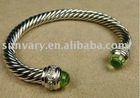 7mm Prasiolite Silver Ice Gemstone Bracelet Jewelry in Sterling Silver