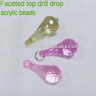 Faceted top drill drop acrylic beads
