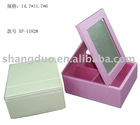 Leather Makeup Mirror & 3 Cosmetic BOX