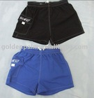 100% polyester peach sking fabric,men's shorts with elasticated waist,side pocket with logo.