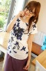 BF8340 printed lady casual and simple T-shirt (blue)