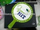 Factory: Good quality offset print PP plastic Fan wiht handle