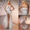 JE0177 New Arrival Long White Halter Neck Evening Dress Patterns