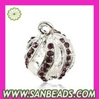 Fashion 14mm Silver Plated Alloy Pendants With Stones