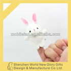 OEM soft plush Rabbit animal finger dolls / plush cartoon finger doll / baby finger puppet