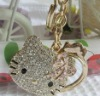 alloy material with mirror and crystal hello Kitty metal keychain key chain