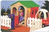 Kids' plastic playhouse with fence