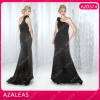 AZ0574 Beading One shoulder Handmade Flower Floor length Black Chiffon 2012 women casual dresses