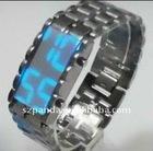 Mirror Style Blue LED Lava Iron Samurai Metal Watch