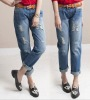ej1049 Basically Design Wash White Holes Loose Women Jeans Wholesale China