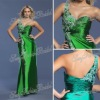 One-shoulder with Applique A-line Anke length side slit ruffle natural waist satin rainbow prom dresses made in china 2013