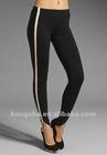 Black Leather Striped Tight Legging HSP8049