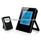 Square blue backlight RF weather station clock meet CE and Rohs best for home and office decoration