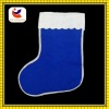 2012 fashion white lace design blue color non-woven material christmas socks