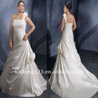 Fashion Pleated Draped Pick Up Plus Size Wedding Dress