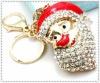 Rhinestone christmas metal key chain