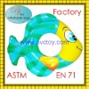Factory hot sale plastic pvc air inflatable fish swim ring