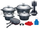 Aluminum Die casting Non-stick Cookware Set|Induction bottom|Ceramic coating|Marble coating|Saucepan|Soup Pot|Double pan|Roaster