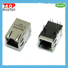 RJ45 single port network connector with transformer