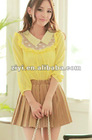 Seven pearls collar FRILLS sleeveless chiffon baby shirts