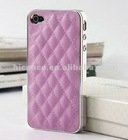 For luxury iphone 4S back cover back case skin cover for iphone 4 back cover Sheep Leather Chrome Hard pink, white, black, etc
