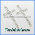 Wholesale Crystal Cross Connector Rhinestone Pave Silver Sideways Charms Beads High Quality Handmade For Jewelry MC-N07