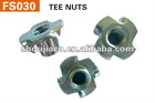 Tee nut with 4 prongs
