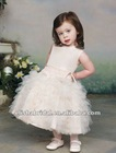 Full A-line Scoop Neckline Ruched Dropped Waistband Taffeta Tulle Flower Girl Dress