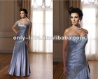 Strapless Sweetheart neckline pleated bridal mother dress with short sleeve jacket OLM117