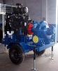 Split case pump trailer with diesel