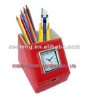 retro style leather clock with pen holder
